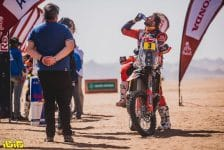 Toby Price (AUS) for Red Bull KTM Factory Team on the finish line of stage 3 of Rally Dakar 2021 at Wadi Ad-Dawasir, Saudi Arabia on January 5, 2021. // Flavien Duhamel/Red Bull Content Pool // SI202101050168 // Usage for editorial use only //