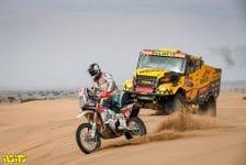 65 Picco Franco (ita), Husqvarna, Team Franco Picco, Original by Motul, Moto, Bike, 503 Macik Martin (cze), Tomasek Frantisek (cze), Svanda David (cze), Iveco, Big Shock Racing, Camion, Truck, action during the 11th stage of the Dakar 2021 between Al-Ula and Yanbu, in Saudi Arabia on January 14, 2021 - Photo Antonin Vincent / DPPI